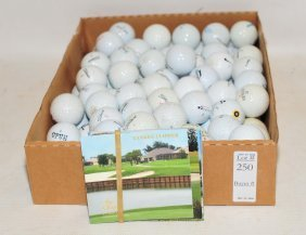 Tray Filled With Golf Balls And Golf Postcards