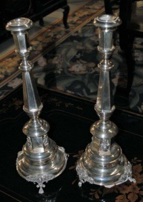 Pair Of Continental Silver Candlesticks , 32 Oz.