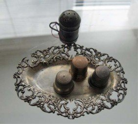 3 Thimbles, Pin Dish, And Small Shaker