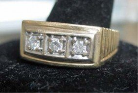 Men's 14K Gold 3 Stone Diamond Ring