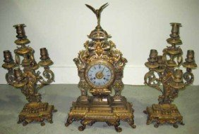 3 Piece Bronze Clock Garniture
