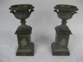 Pair Of Empire Style Urns On Bases