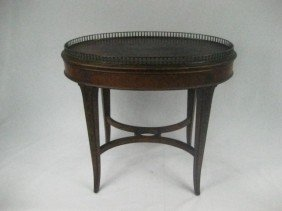 Satinwood & Floral Decorated Gallery Top Tea Table