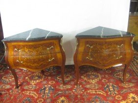 Pair Of Louis XV 2 Drawer Corner Commodes