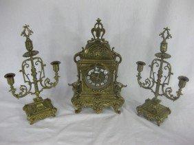 3 Piece Victorian Bronze Clock Set