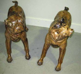 Pair Of Terra Cotta Figures Of Dogs