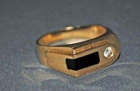 Men's 14K Gold Onyx And Diamond Ring
