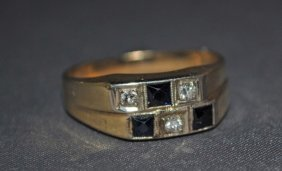 Men's 14K Gold Sapphire And Diamond Ring
