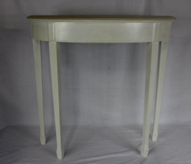 Small white demi lune console table lot 236 White demilune console table