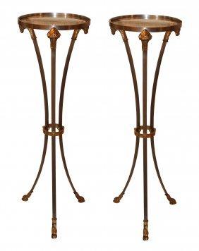 Pair Of Stainless Steel & Bronze Ram's Head Pedestals
