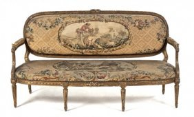 Antique French Louis XVI Style Giltwood Settee