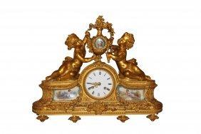 19th. French Dore' Bronze Cherub Motif Mantel Clock
