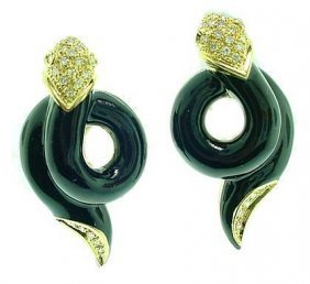 18k Black Enamel Snake Earrings W/ Pave Diamonds