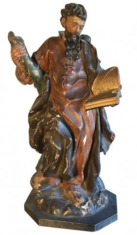 18th C. French Carved Religious Statue,