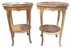 Pair Of French Louis Xv Carved And Gilt Side