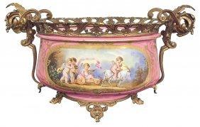 French Sevres Porcelain And Bronze Jardinere