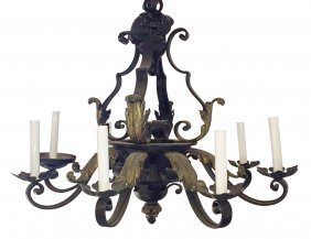 8 Light French Iron Chandelier