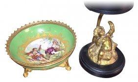 French Sevres Bowl & Bronze Cherub Lamp