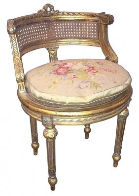 French Louis Xvi Style Giltwood Vanity Chair
