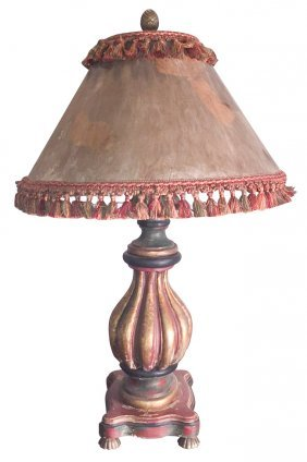 Large Carved And Painted Wood Lamp