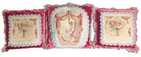 Group Of 3 French Aubusson Tapestry Pillows