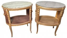 Great Companion Pair Of French Oval Side