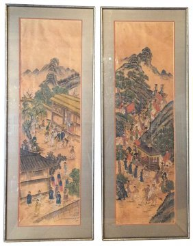Pair Of Chinese Water Colors