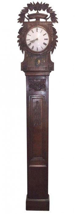An 18th C. French Oak Longcase Clock With