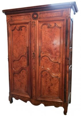 18th C. French Cherry And Burl Armoire