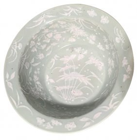 A Large Antique Chinese Celadon Chow Bowl