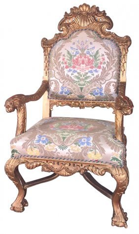 19th C. Italian Carved And Giltwood Armchair