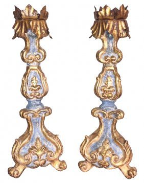 Pair Of Italian Parcel Gilt Prickets