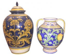 Group Of 2 Italian Faience Urns