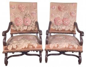 Pair Of 19th C. French Walnut Armchairs