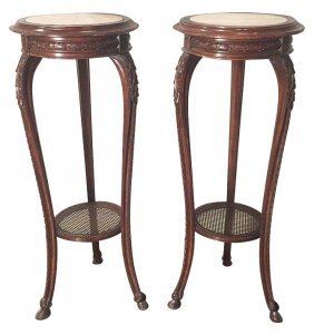 Pair Of French Carved Oak Pedestals