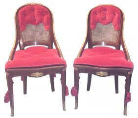 Pair Of French Bronze Mounted Side Chairs