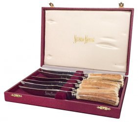 Set Of 6 Sheffield Antler Steak Knives