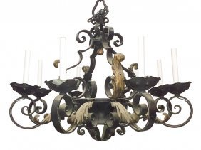 Antique French Wrought Iron 8 Light Chandelier
