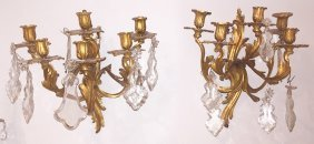 Pair Of French Bronze 6 Light Sconce