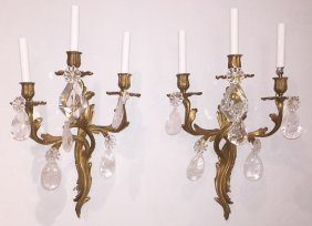 Pair Of French Bronze And Rock Crystal Sconce