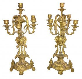 Pair Of French Bronze Candelabra,