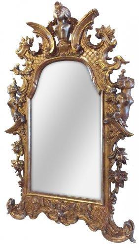 18th C. Italian Carved Giltwood Mirror