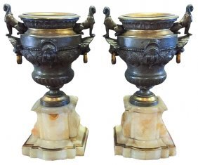 Pr. French Bronze & Onyx Urns,