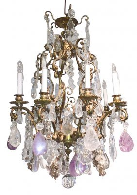 19th C. French Rock Crystal 10-light Chandelier