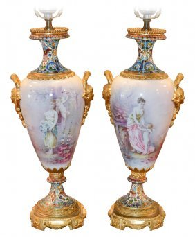 Pair Of 19th C. French Sevres & Cloisonne'