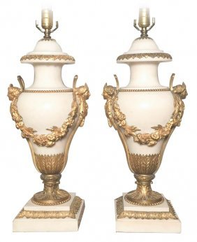 Fine Pair Of French Marble And Bronze Urns
