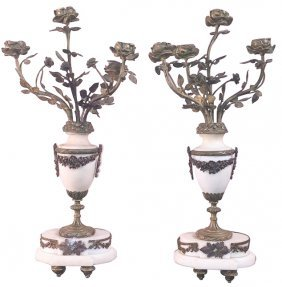 Pair Of French Marble And Bronze Candelabra