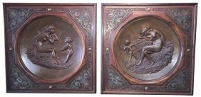Nice Pair Of French Bronze Chargers