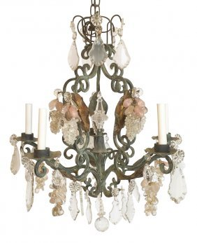 French Patinated Verde Iron Chandelier