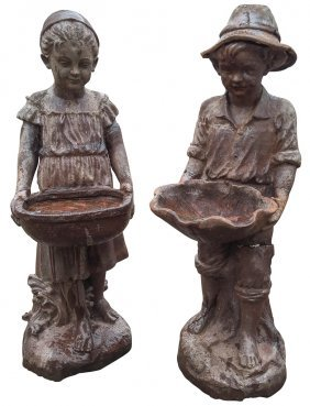 Pair Of French Cast Iron Garden Statues